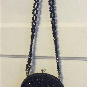 Vintage Bags - Vintage Black Beaded shoulder Bag